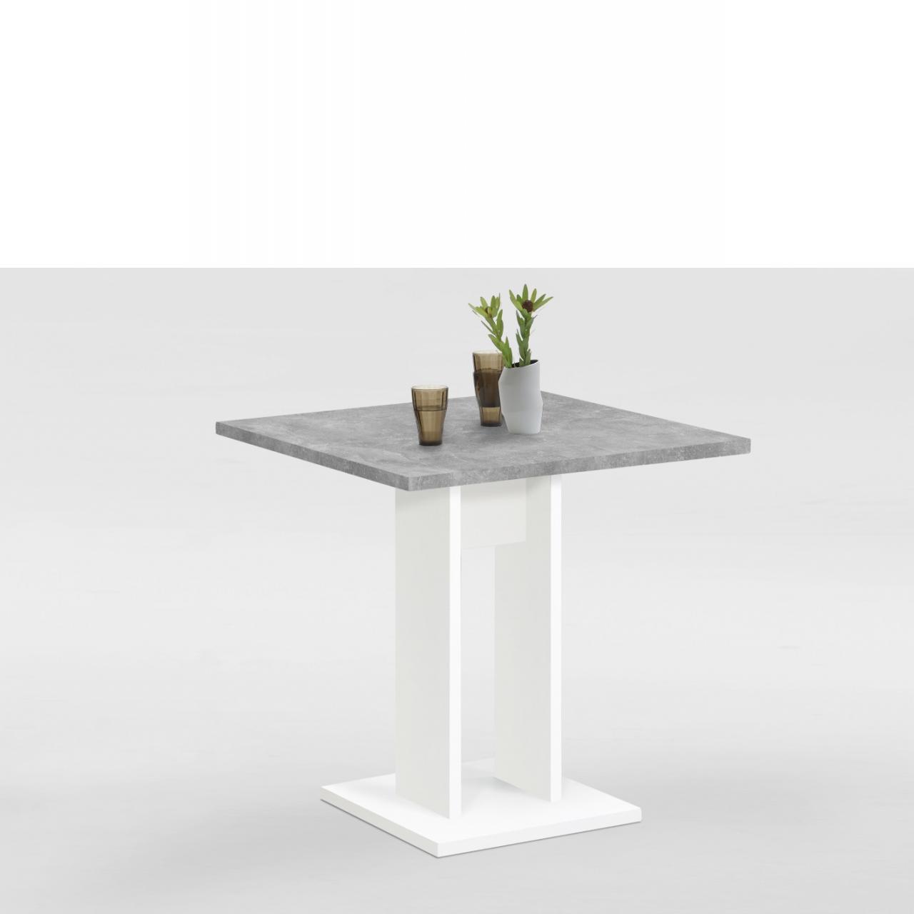 Esstisch - Bandol 1 - Weiß/Beton