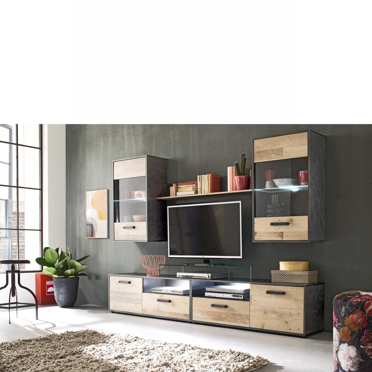 Anbauwand Merlo Pale Wood MDF Beleuchtung Wohnwand TV-Wohnlösung Stube