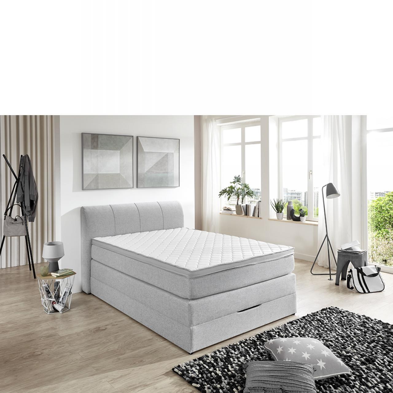 Boxspring-Set BX 1440 Mit Bettkasten Silver 100x200 Hotelbett Bett