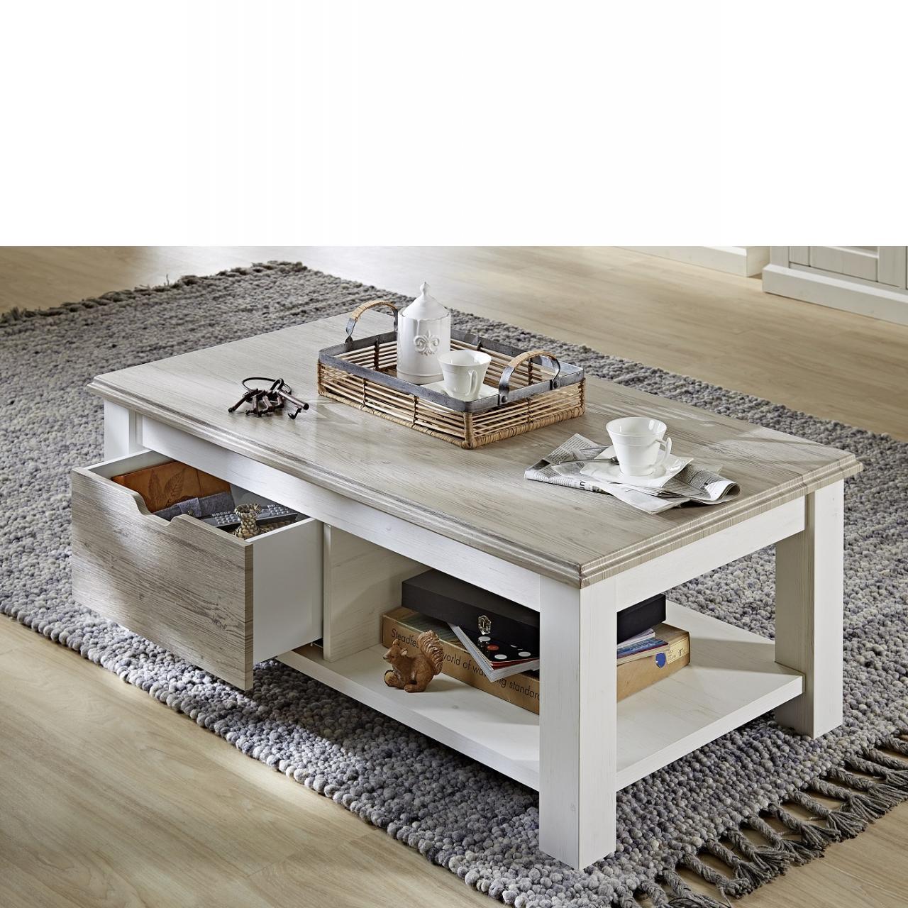 Couchtisch Lima 1 Schubkasten Mit Boden Stubentisch Pinie Hell Nb. Taupe Tisch