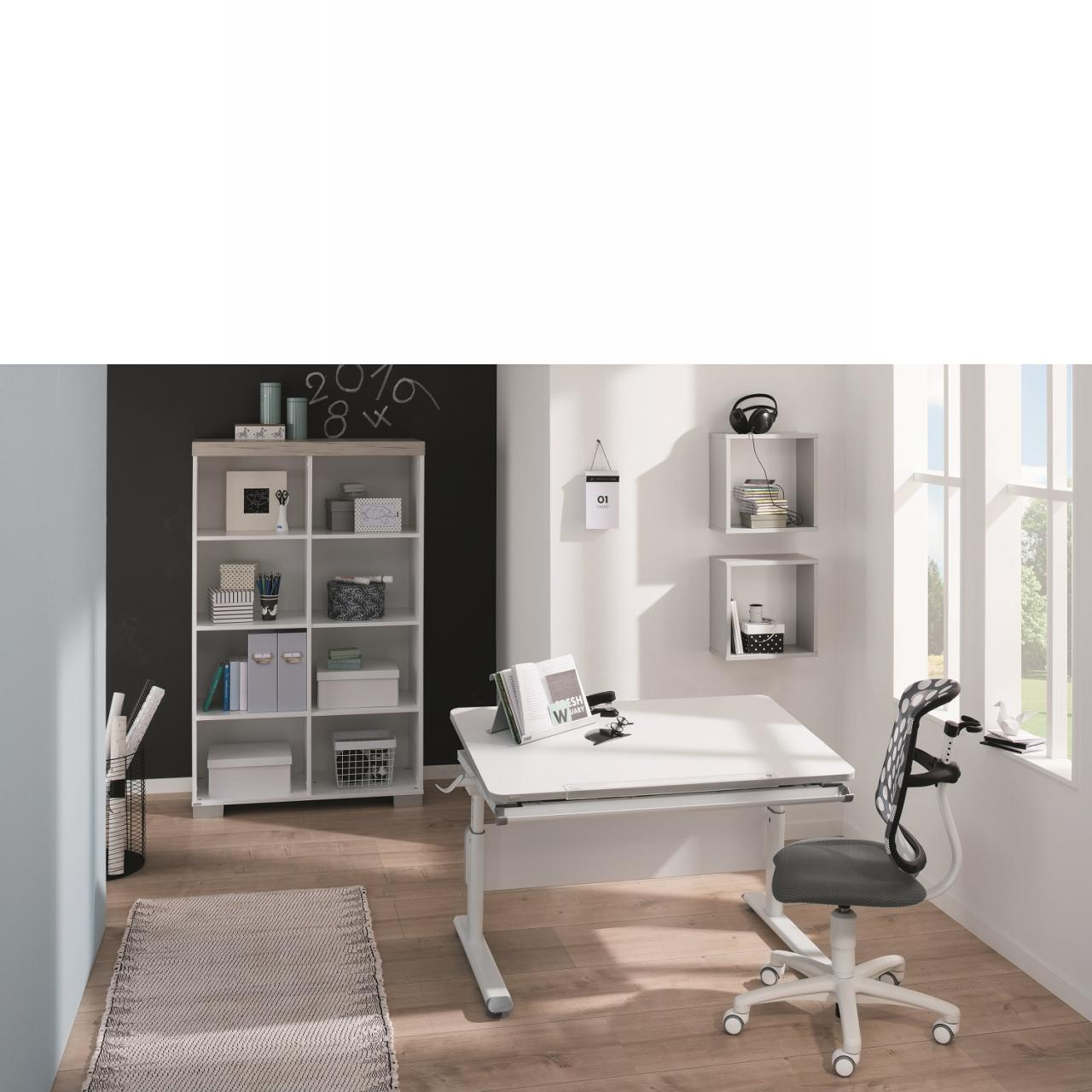 Schreibtisch Diego Kreideweiß Höhenverstellbar Neigbar Kinderschreibtisch Tisch
