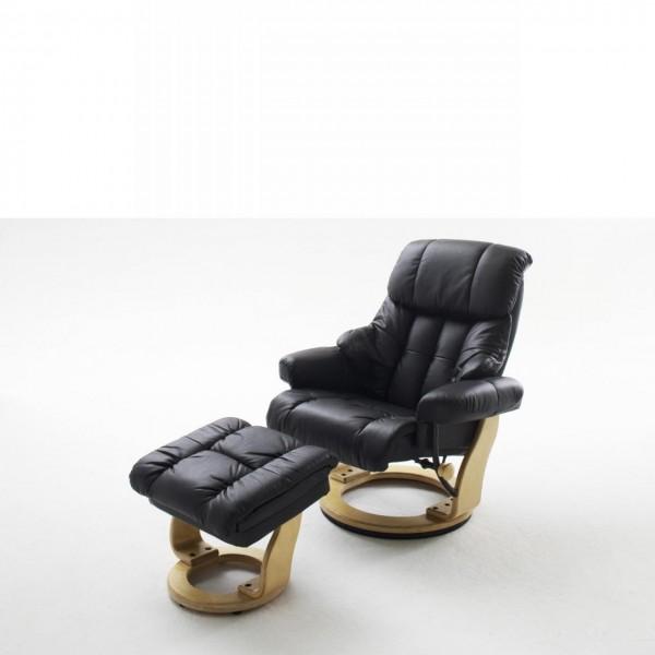 Relaxsessel Calgary mit Hocker Bezug Echtleder Relaxfunktion TV Sessel Schwarz
