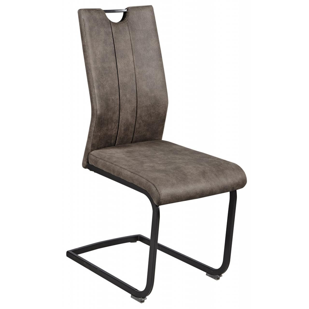 Schwingstuhl Melina mit graubraunen Polyesterbezug und schwarzen Metallgestell
