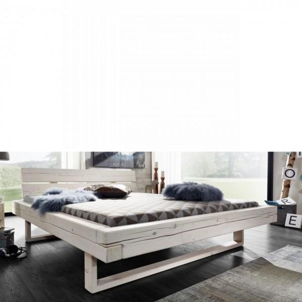 Balkenbett BE-0280 ca. 140x200 Fichte Massiv Weiß Bettgestell Schlafzimmer