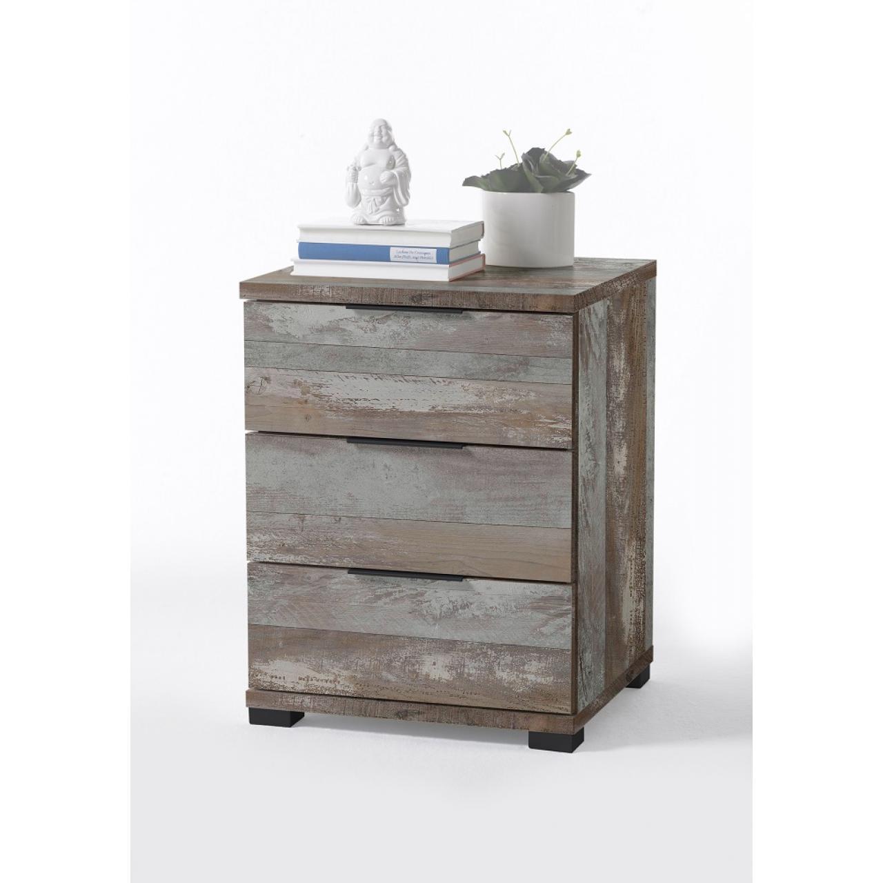Nako 3 Driftwood 3 Schubkästen Nachtkommode Nachttisch Schlafzimmer
