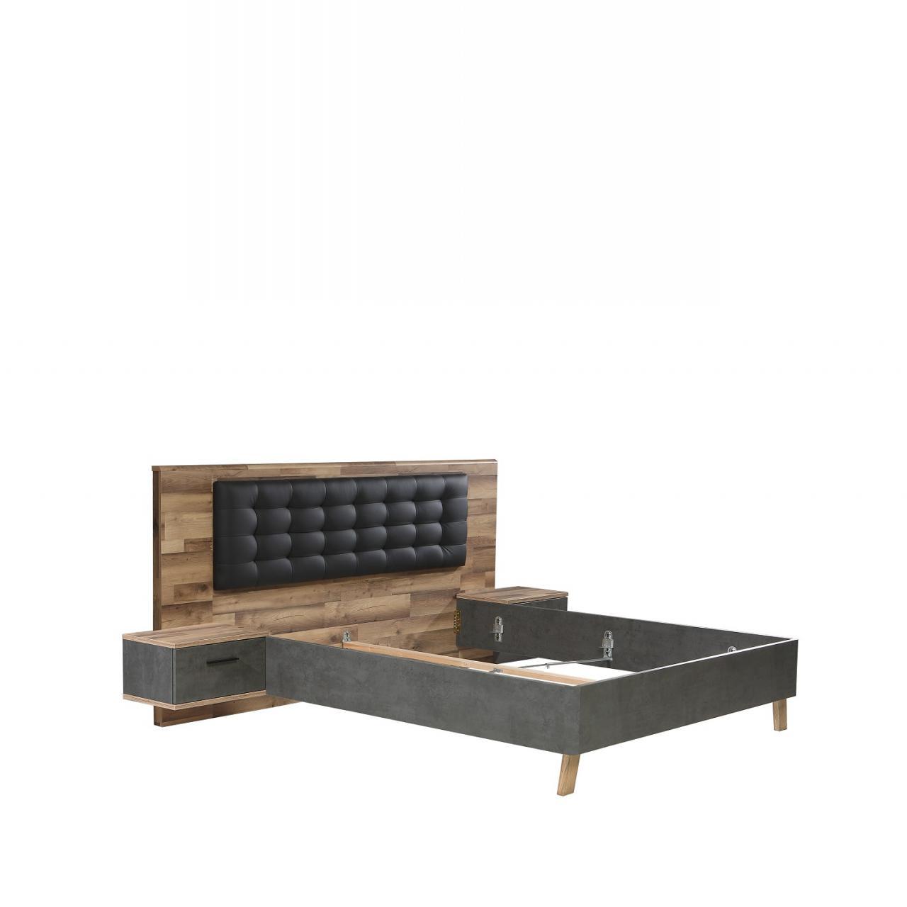 Bettanlage Ricciano Stabeiche Nb. Betonoptik Dunkelgrau 180x200 MDF Schlafzimmer