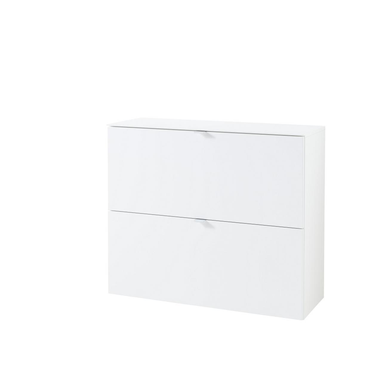 Hänge-Schuhschrank Ticona Weiß 2 Klappen 4 Einlegeböden MDF Metall Silber