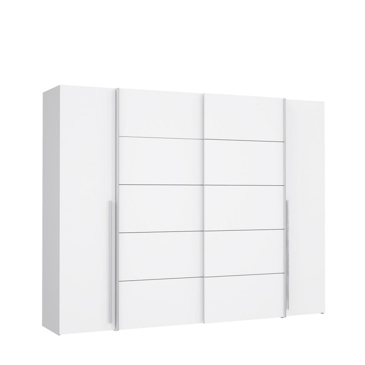 Kleiderschrank Narago Weiß 2 Schwebetüren 2 Drehtüren 8 Böden MDF Schrank