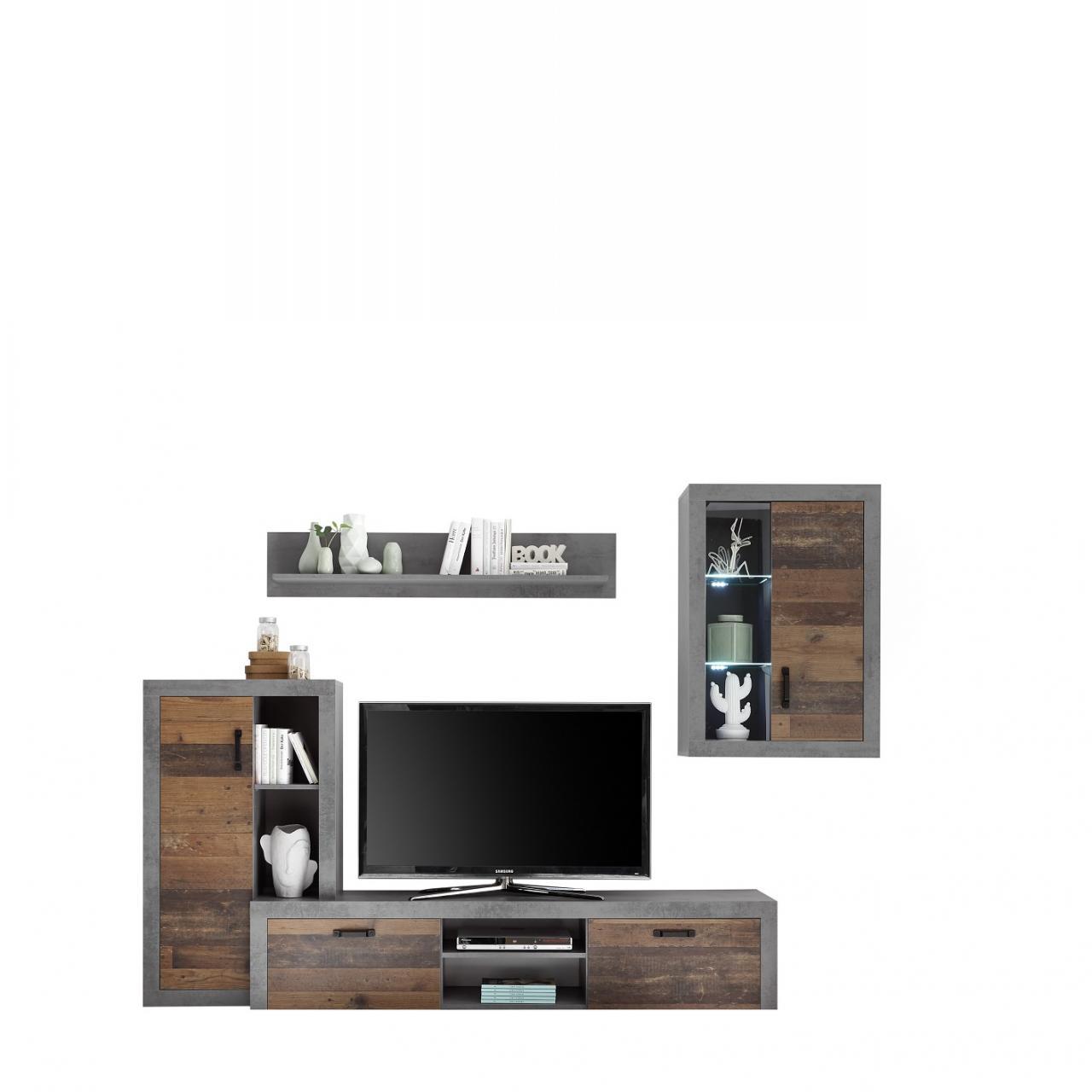 Anbauwand Team Matera Old Wood Wohnzimmer Schrankwand MDF 4-teilig Wohnwand