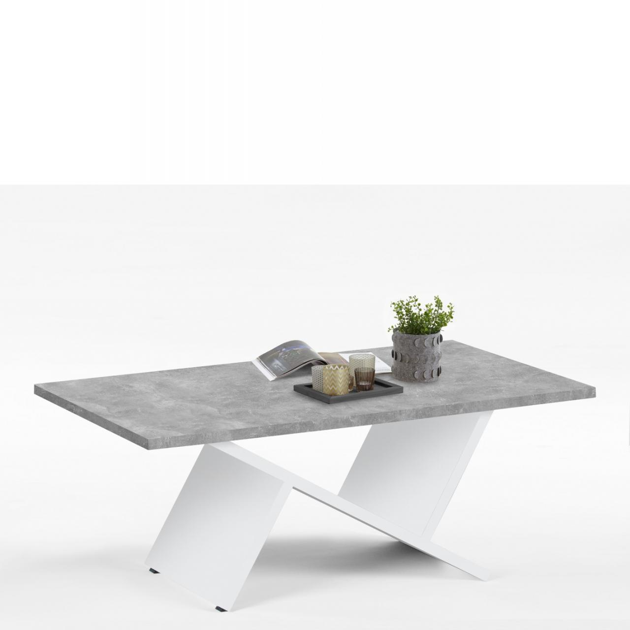 Couchtisch - Kall - weiss/beton