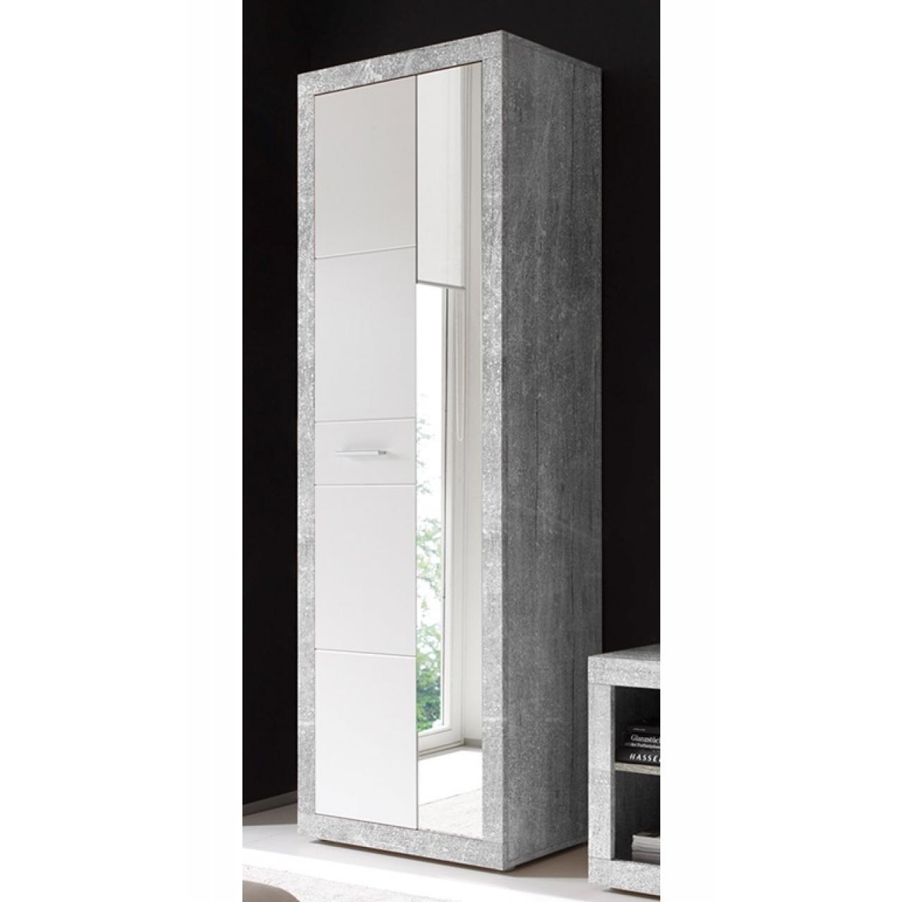 Garderobenschrank Stone, Schrank, Garderobe, Spiegel, Beton, Weiß, 2-Türig