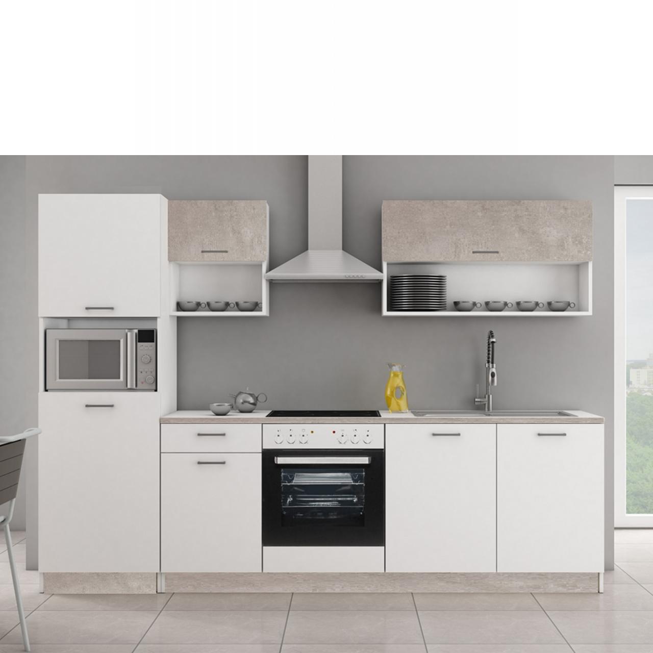 Küche Mika 2 Betonoptik Matt Weiß Matt Küchenzeile Küchenblock Single-Küche