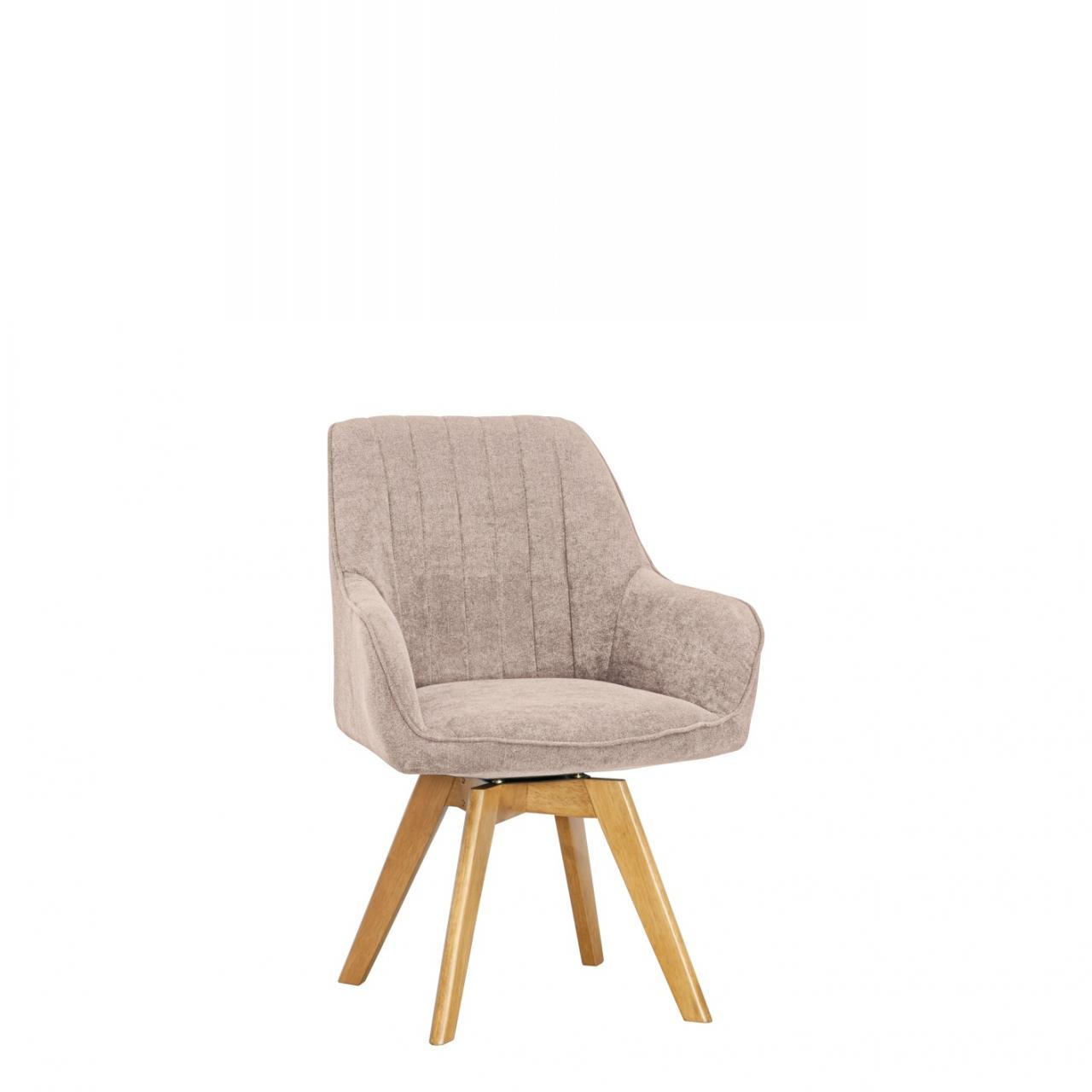 Stuhl ST-0160 Hellbraun Natur Massivholz Eiche Stoff Esszimmerstuhl Küche