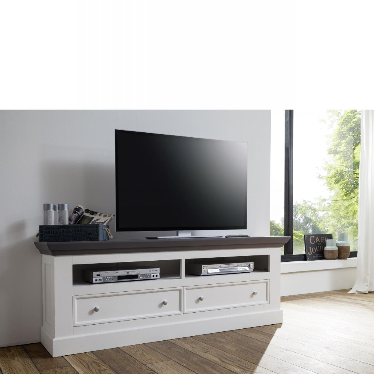 tv lowboard aus paulowniaholz landhausstil wei m bel j hnichen center gmbh. Black Bedroom Furniture Sets. Home Design Ideas