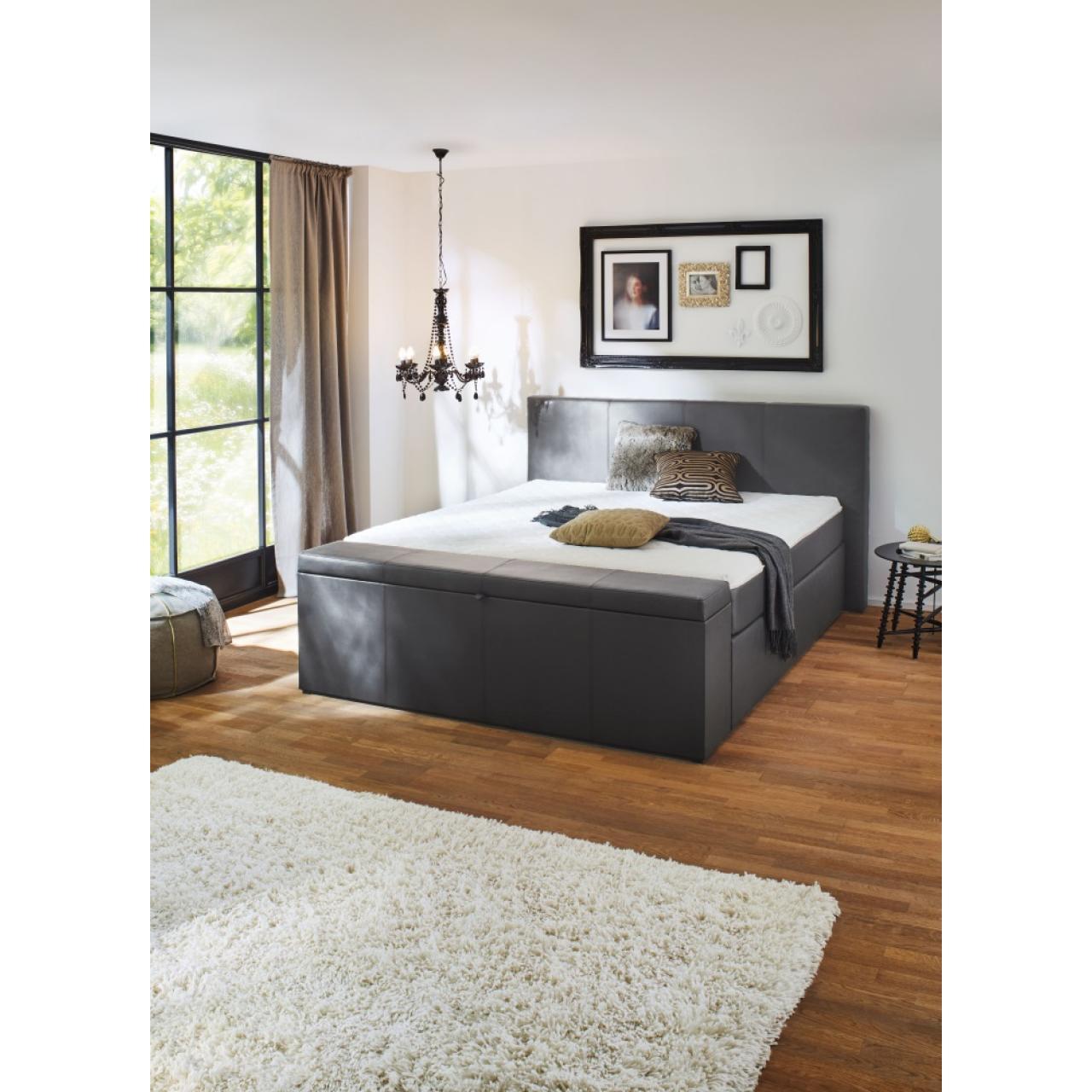 boxspringbett 140 200 grau. Black Bedroom Furniture Sets. Home Design Ideas