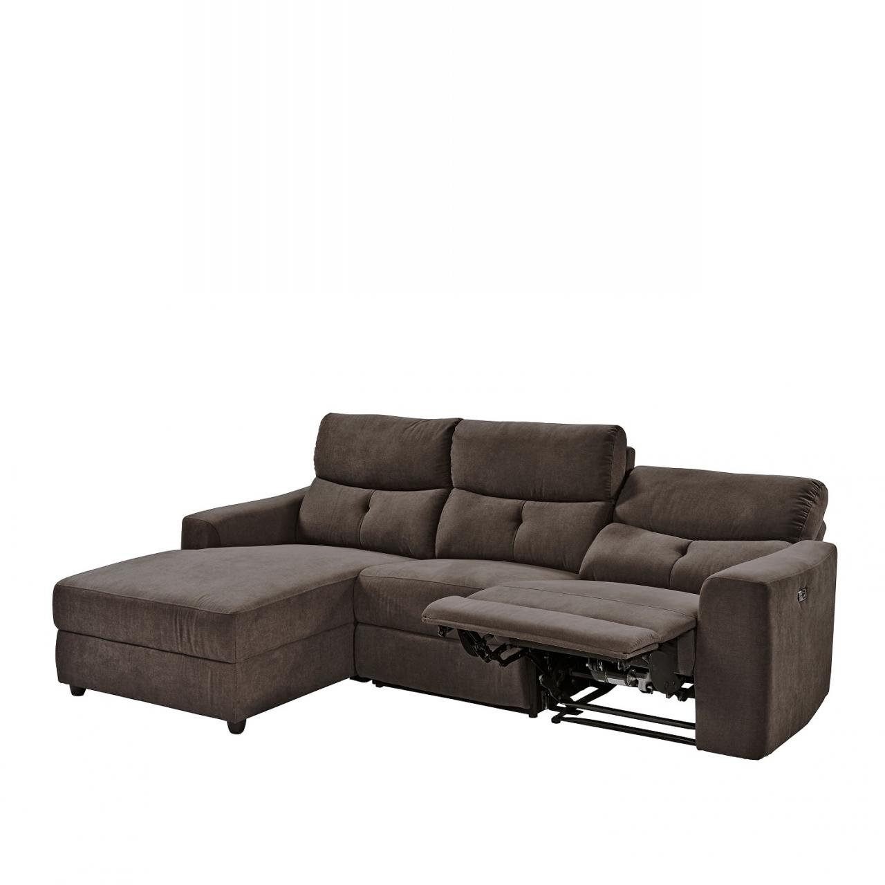 Sofa FM-3022 Stoff Grau Mit Relaxfunktion Polstergarnitur Couch L-Form