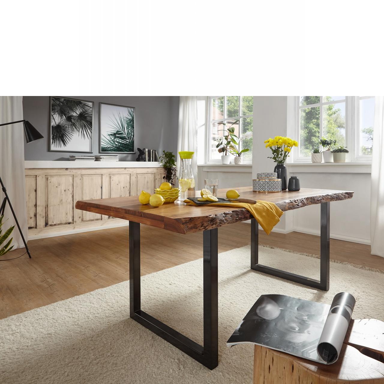 Esstisch TI-0481 140x90 cm Akazie Massiv Eisen U-Form Natur Silber Küchentisch Tisch Esszimmer