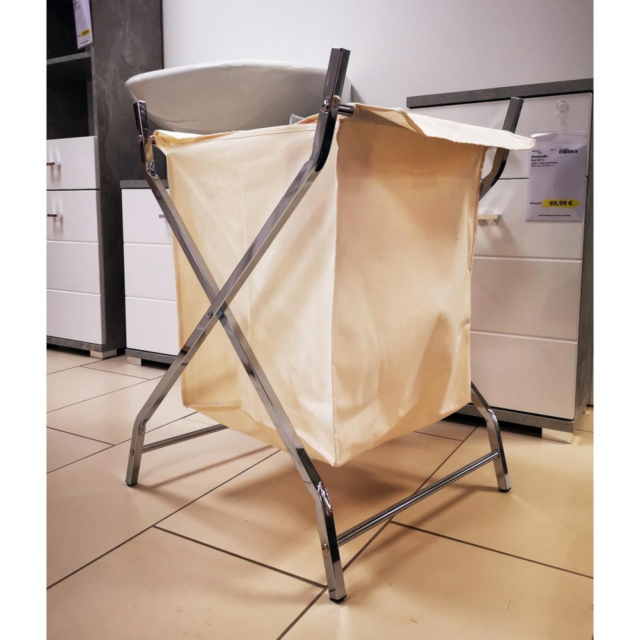 Wäschekorb Stoff beige klappbar Metallgestell Wäschebox Kleiderkorb Wäsche