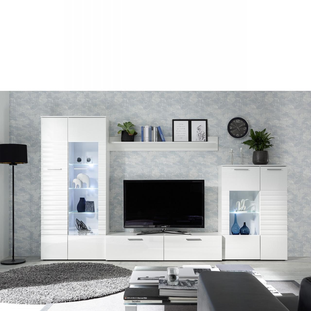 Wohnwand New Long Weiß/Weiß Hochglanz 4-teilig inkl. LED-Beleuchtung Anbauwand