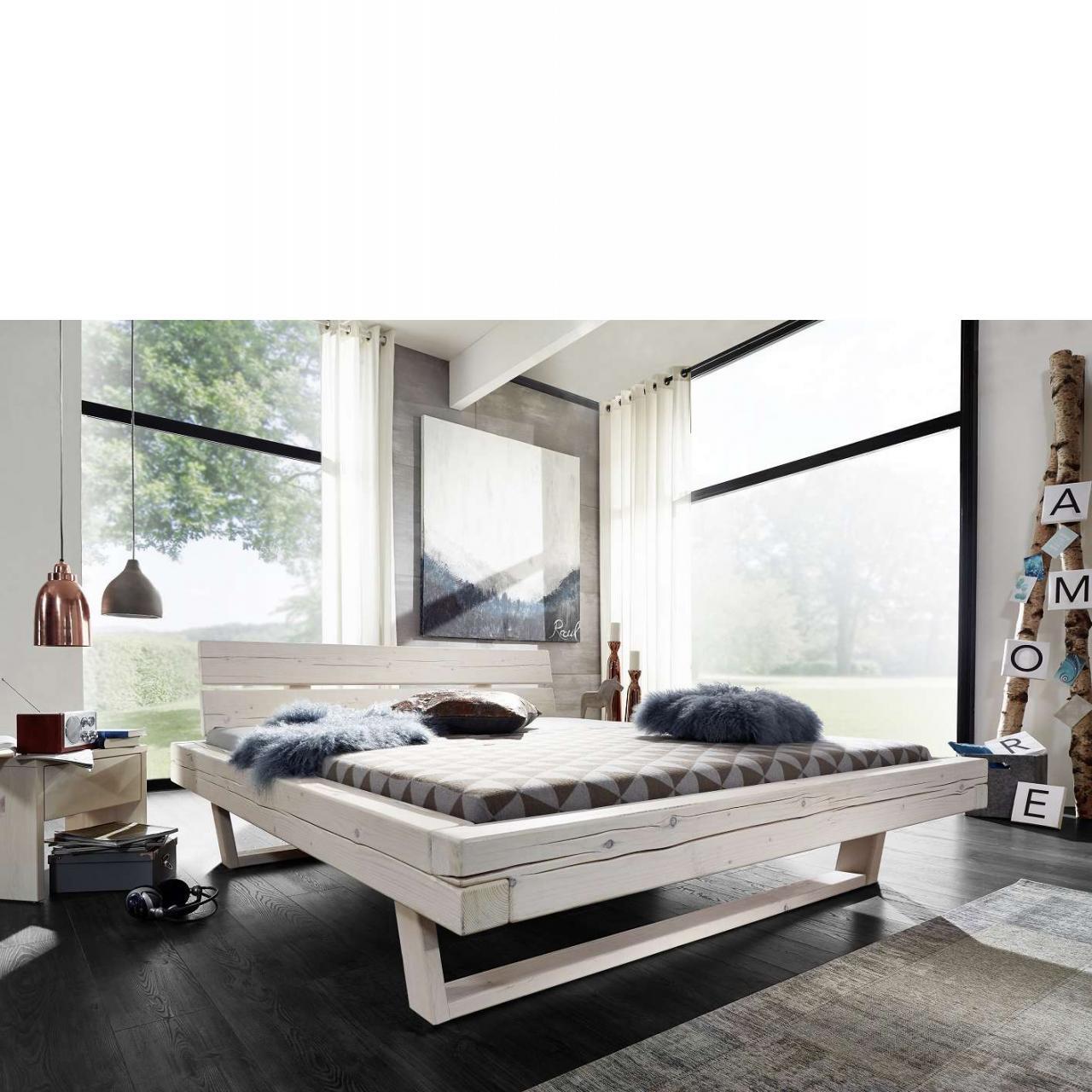 Balkenbett in Fichte massiv - Weiß lasiert