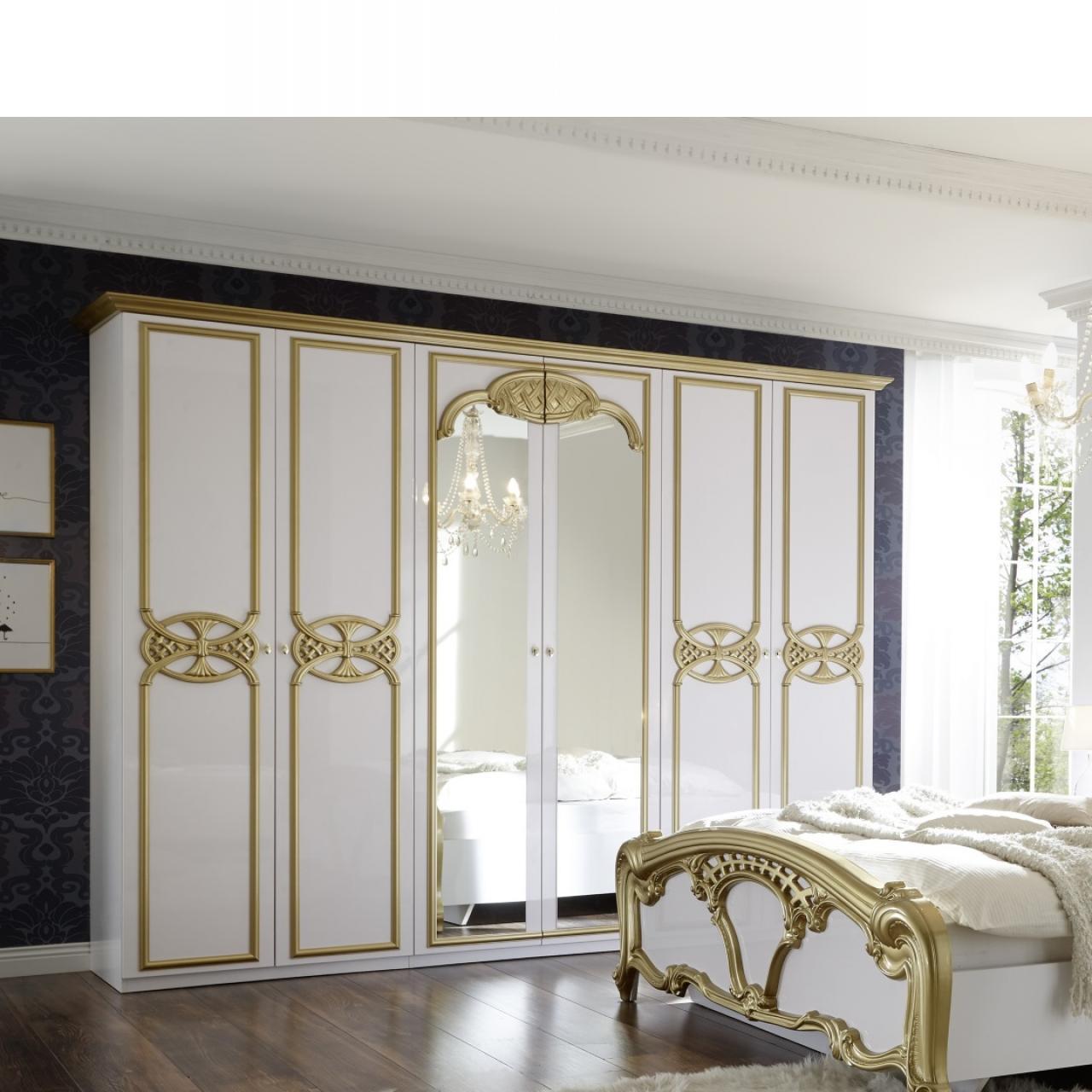 Kleiderschrank Claudia Weiss Gold Mdf 2 Spiegelturen 6 Turig Schlafzimmerschrank Drehturen Kleiderschranke Schlafen Mobel Jahnichen Center Gmbh