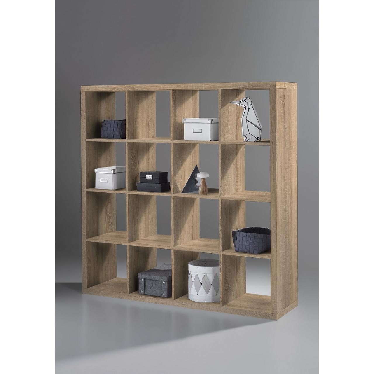 Raumteiler Style 136 Sonoma Eiche 16 Fächer MDF Standregal Regal Wohnzimmer
