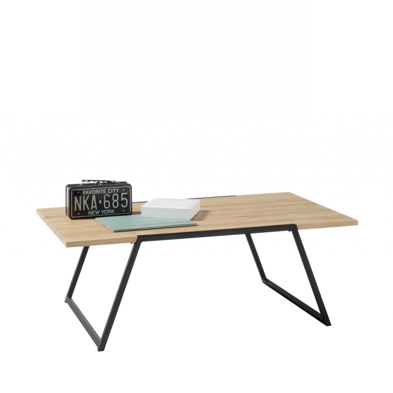 Couchtisch Eliano Eiche Massiv Geölt Metall Natur Schwarz Stubentisch Tisch