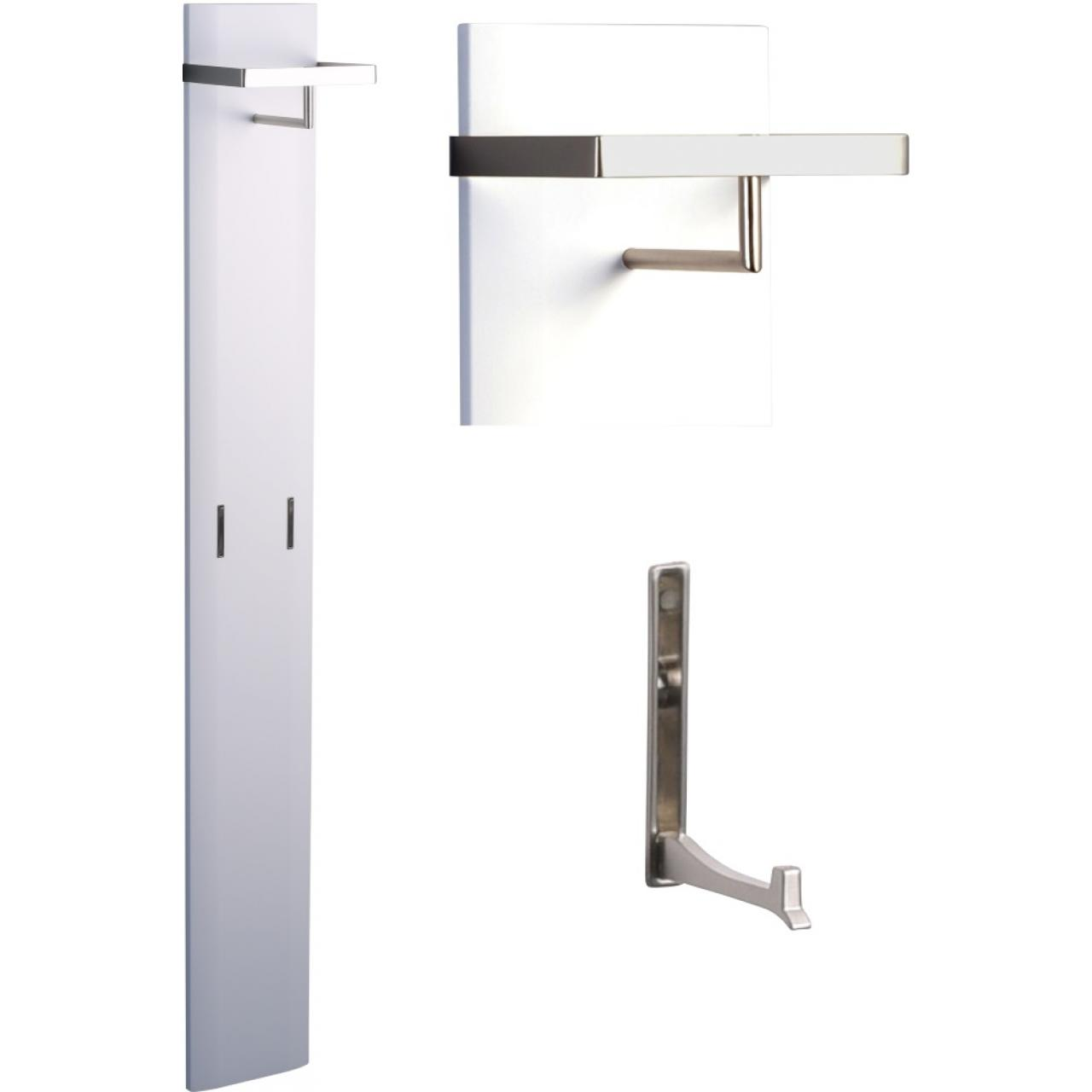 Garderobe Aruba 2 Wandgarderobe Weiß Metall Edelstahloptik Ausklappbar 2 Haken