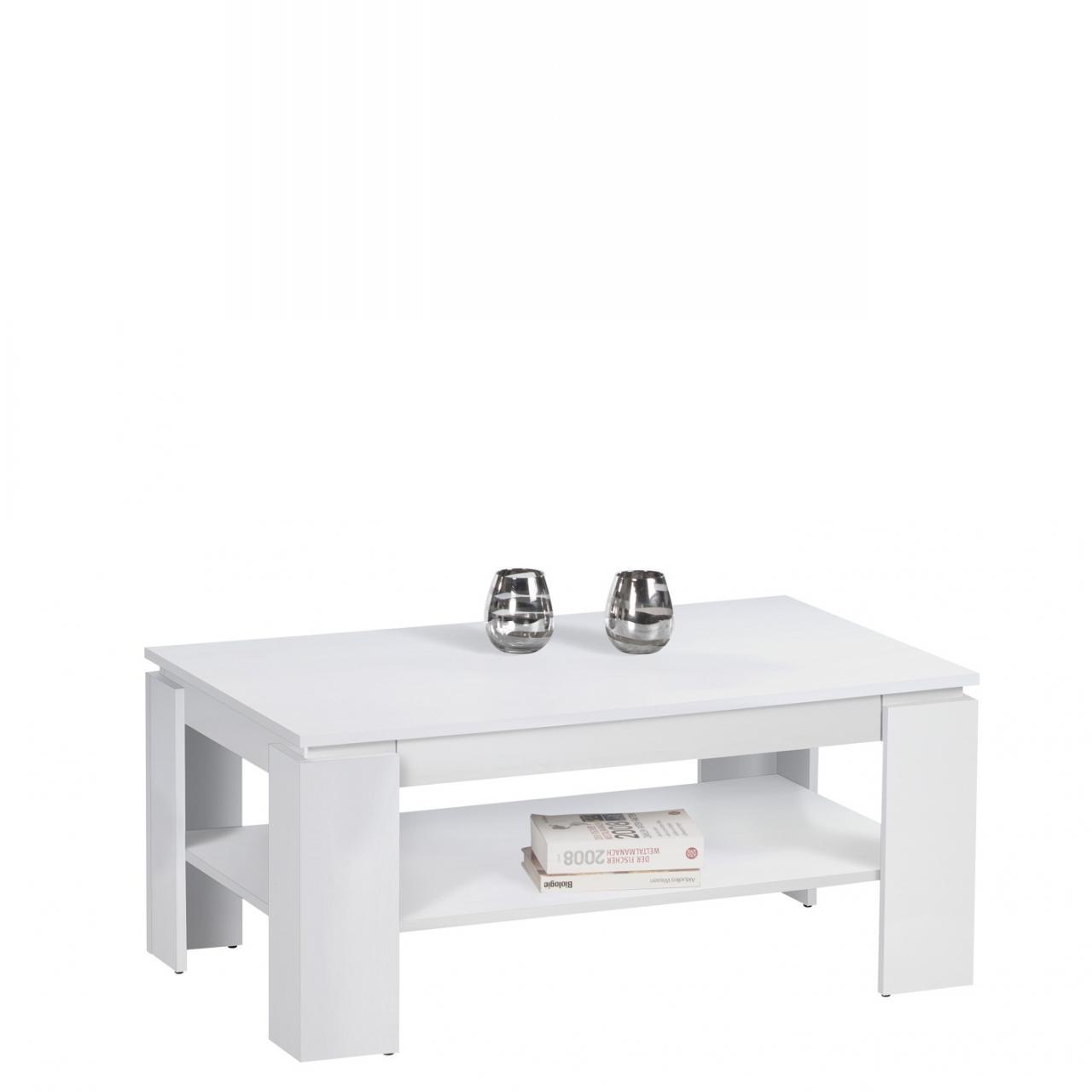 Couchtisch Harrison Weiß Dekor MDF inkl. Schublade Stubentisch Tisch 1 Ablage