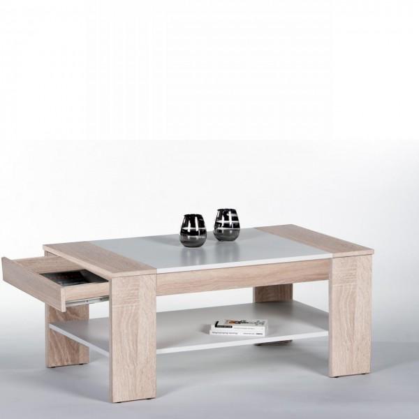 Couchtisch Finley Plus Sonoma Eiche/Weiß MDF mit Schubkasten & Ablagefach