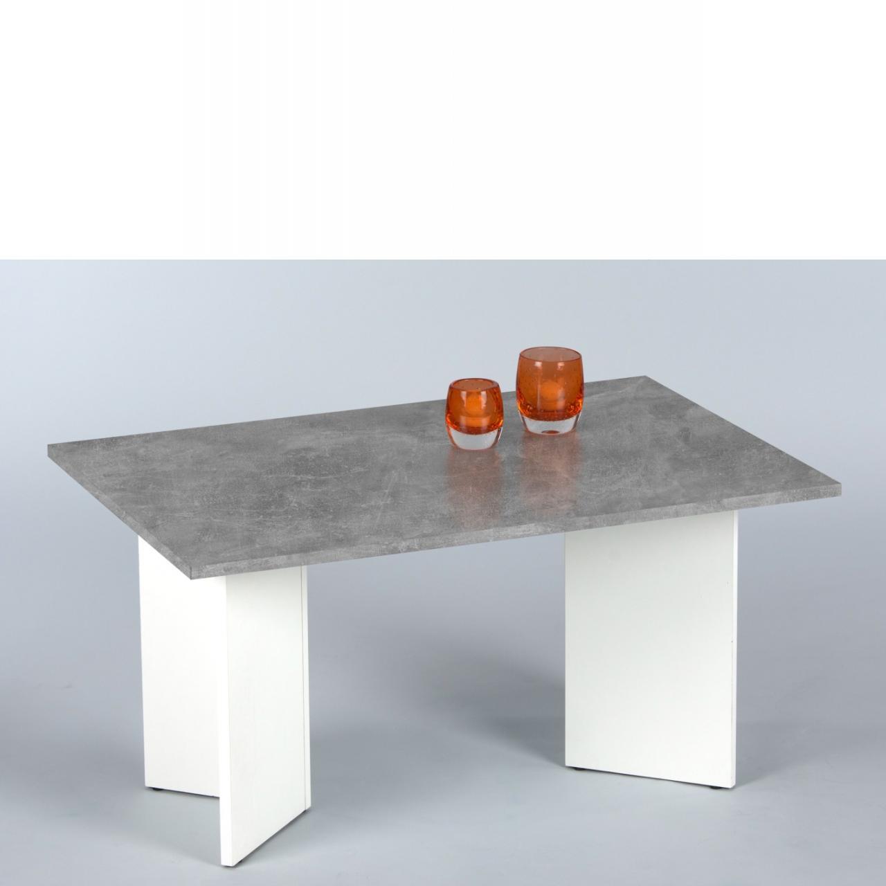 Couchtisch Minimal - Beton/Weiß