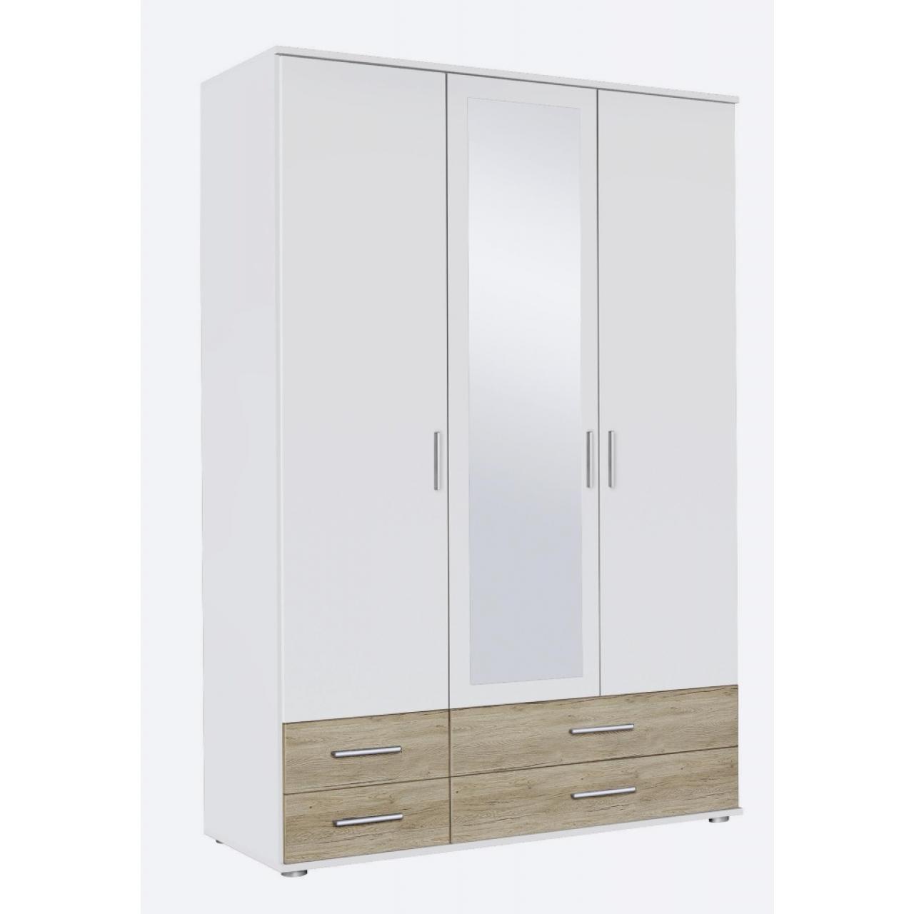 Drehtürenschrank Rasant Kleiderschrank Schrank Alpinweiß, Sonoma 3-türig Spiegel
