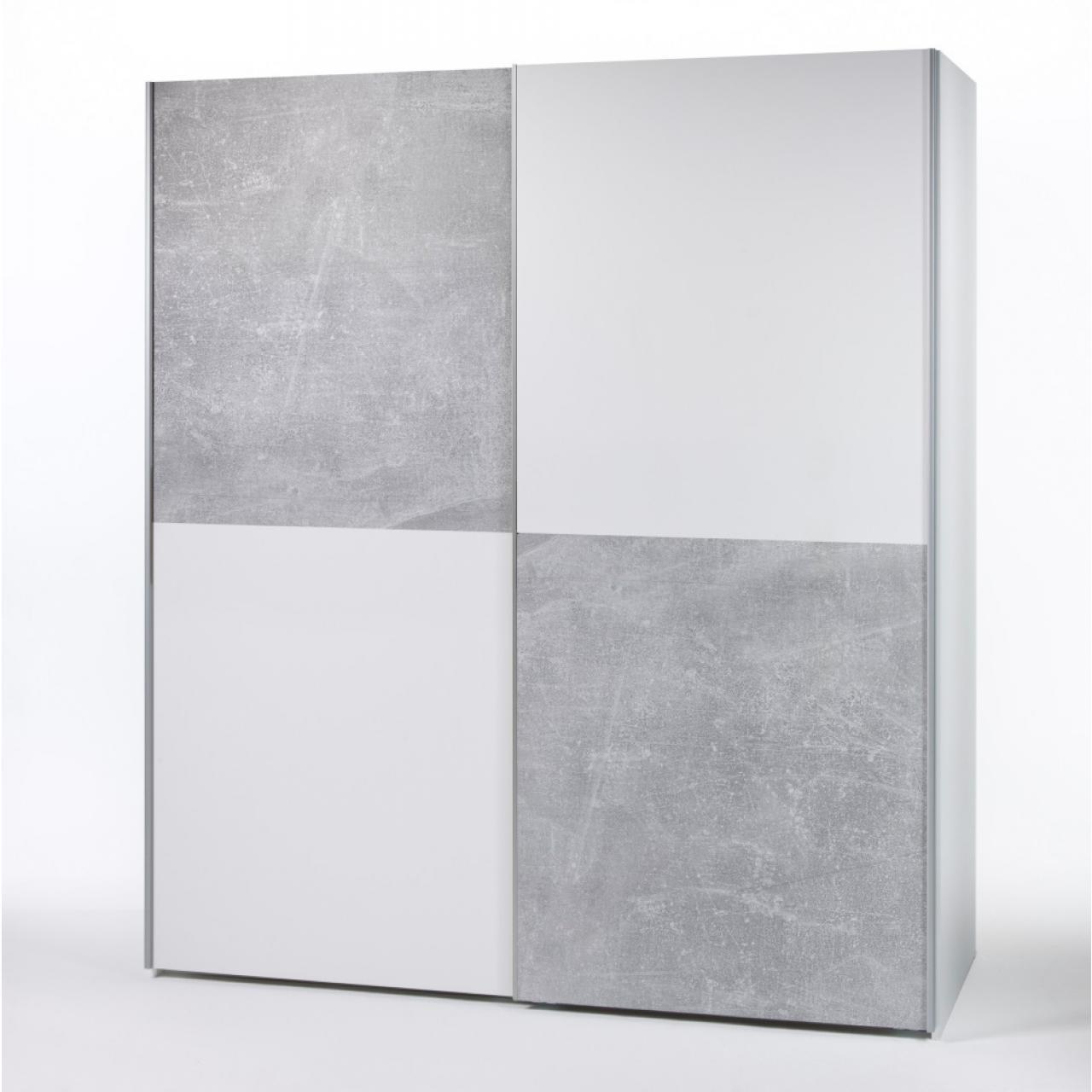 Schwebetürenschrank Victor - Beton/Weiß
