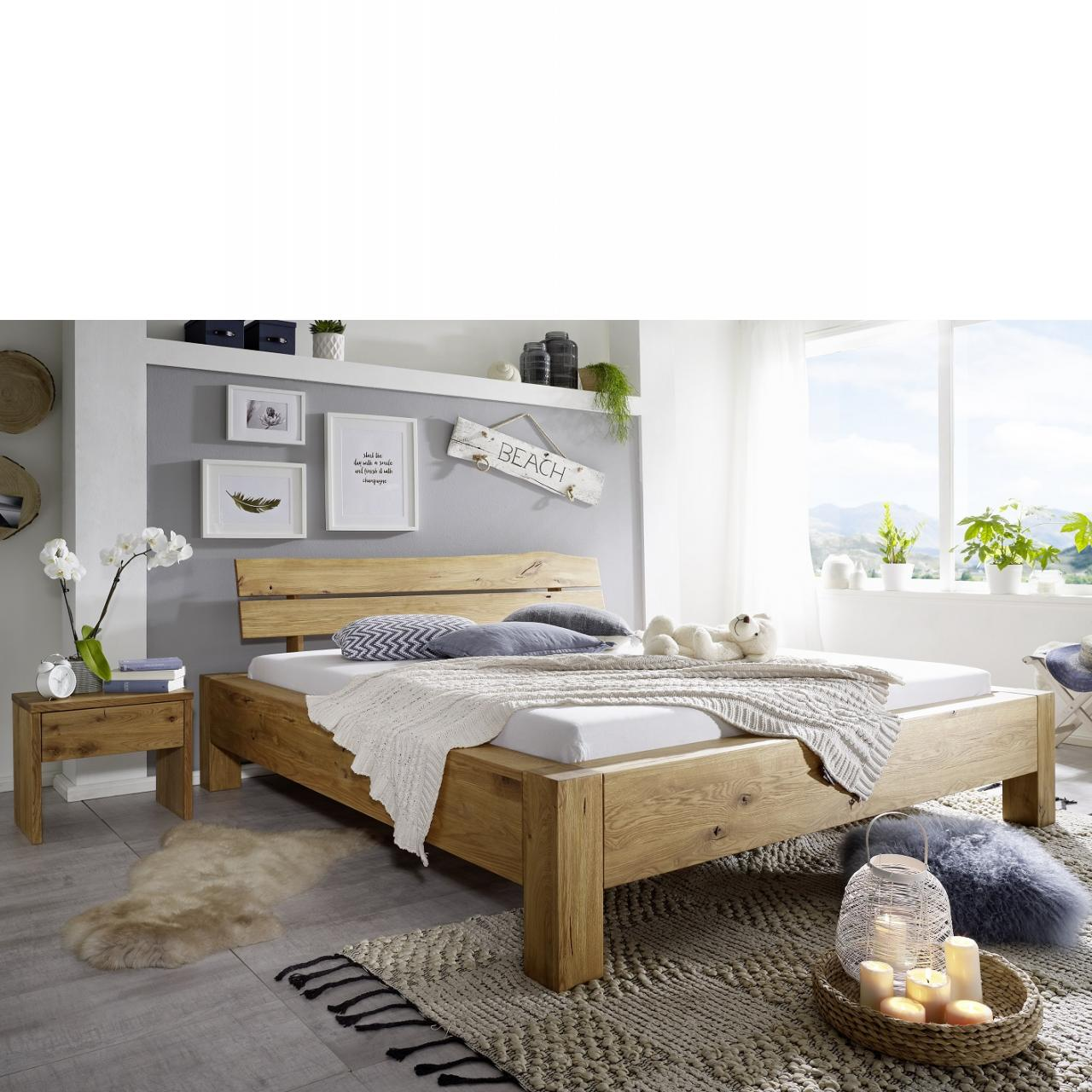 Bett BE-0233 Wildeiche Geölt Massiv Kopfteil Baumkante Schlafzimmer