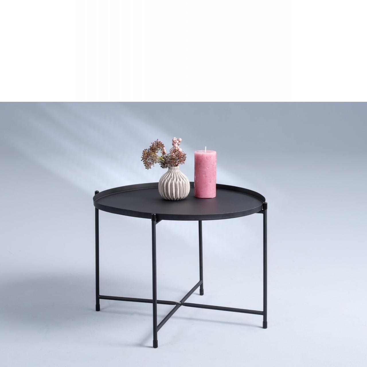 Couchtisch Seattle schwarz rund 56 cm Metall Tablett abnehmbar
