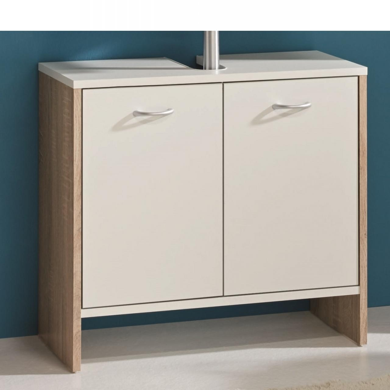 Waschbeckenunterschrank Viola Esche Grau Weiß 2 Türen Badezimmer Gäste-WC