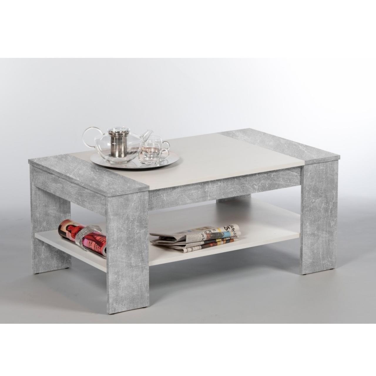 Couchtisch Finley Plus Beton/Weiß MDF mit Schubkasten & Ablagefach