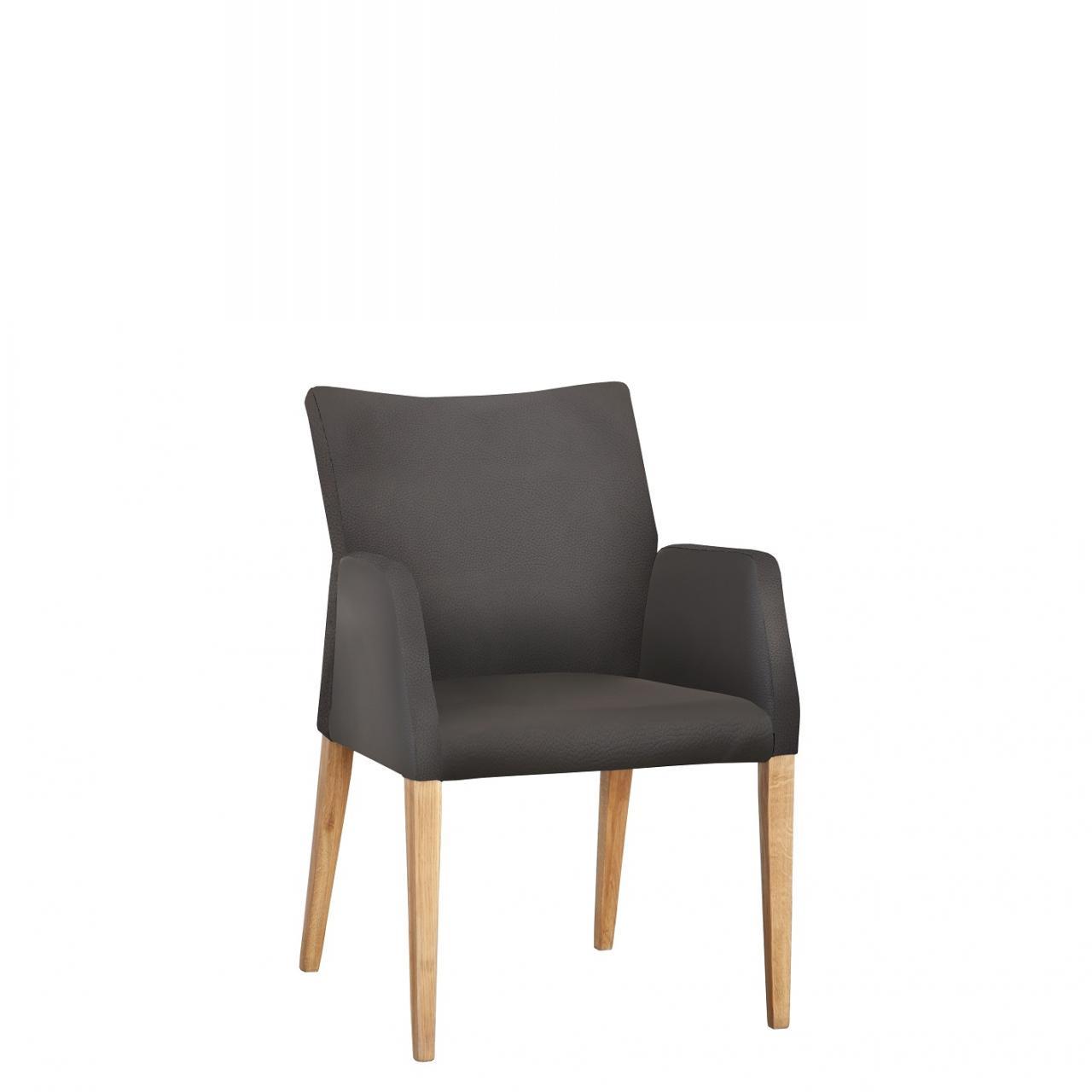 Stuhl mit Armlehne aus Leder in grau und Stuhlbeine aus massiver Eiche