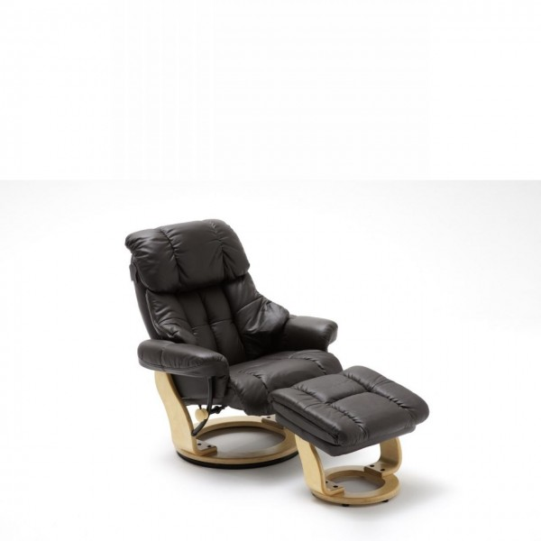 Relaxsessel Calgary Braun mit Hocker Bezug Echtleder Relaxfunktion TV Sessel