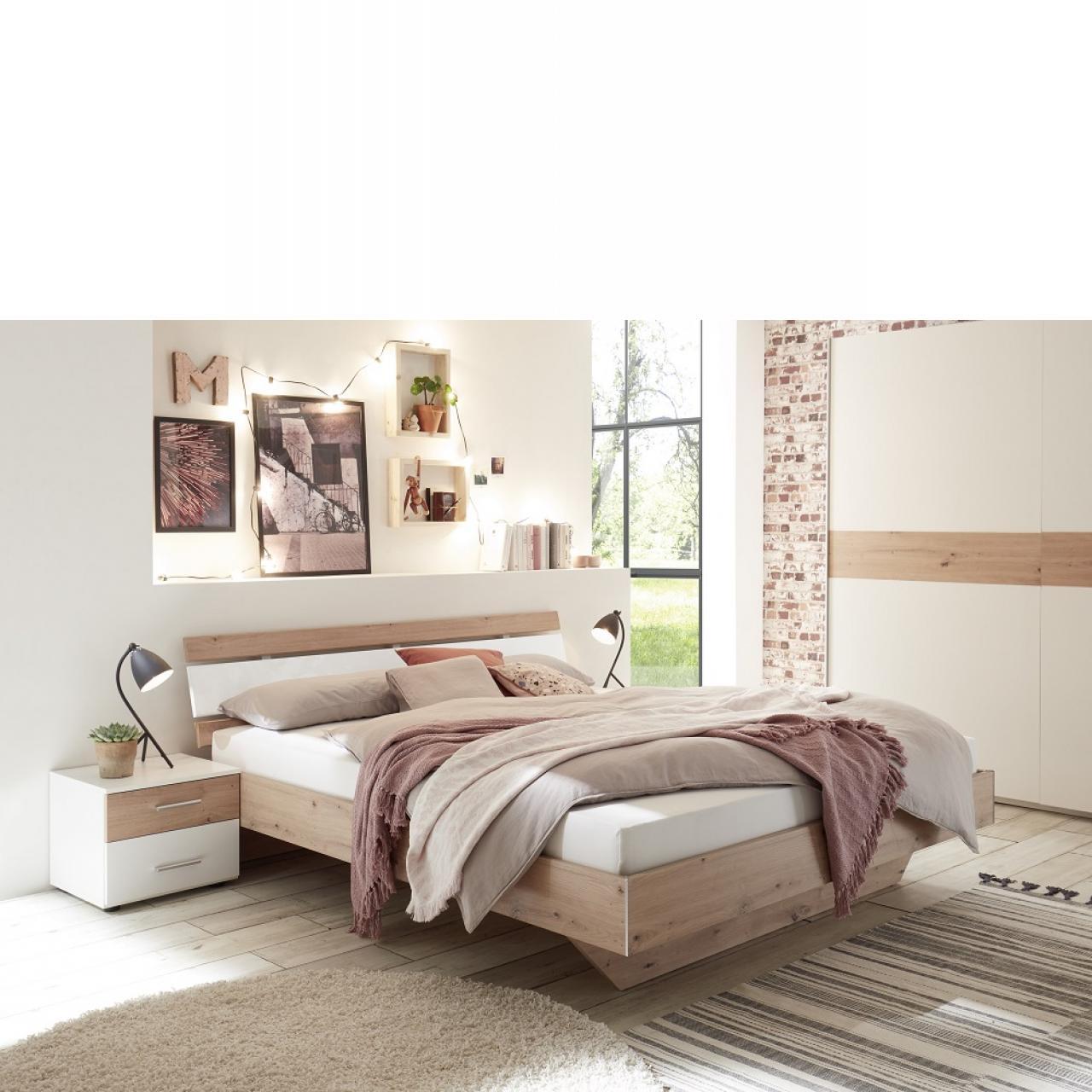 Bettanlage Cadiz Artisan Weiß Jugendbett Schlafzimmer 180x200 MDF m. 2 Nachtkonsolen
