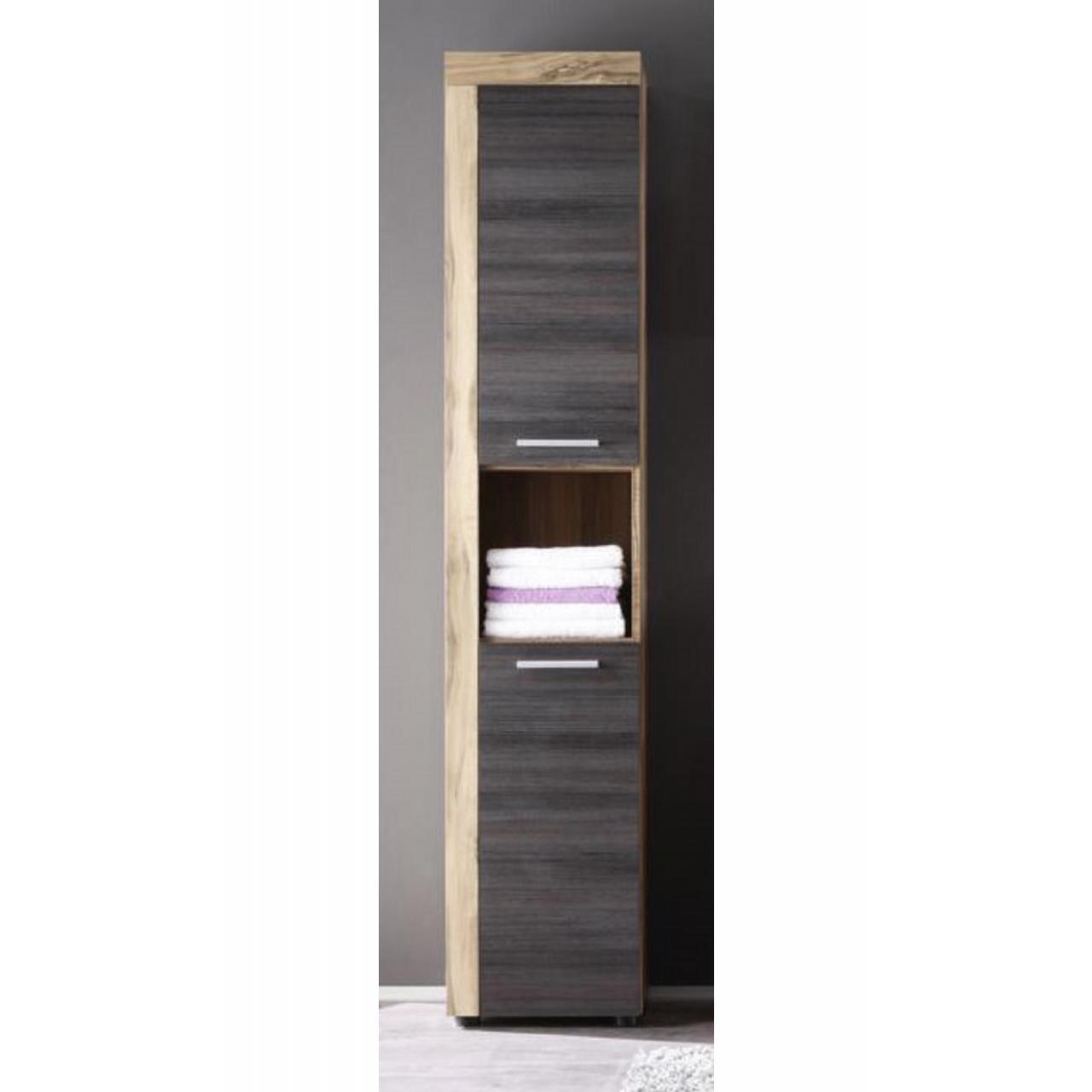Hochschrank Cascada Badezimmer Bad Gäste-WC 2 Türen 1 Offenes Fach Nussbaum  Satin/Touchwood dunkel