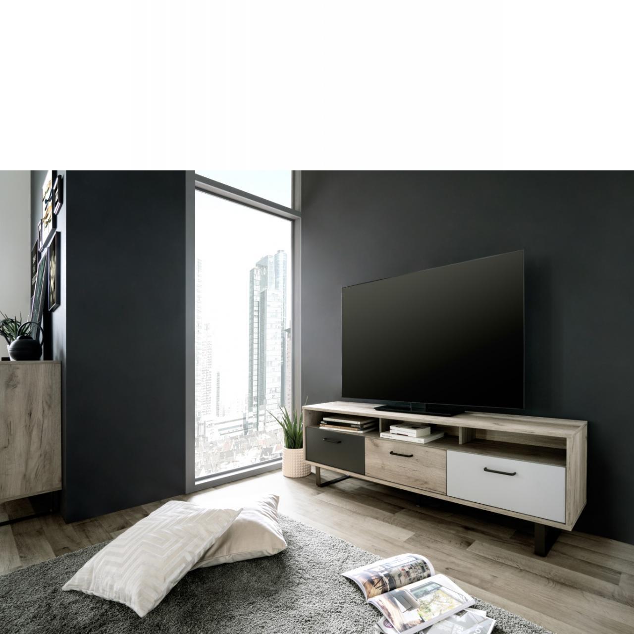 Tv Board Orlando Grey Craft Oak Grau Weiss Anthrazit Lowboard Tv