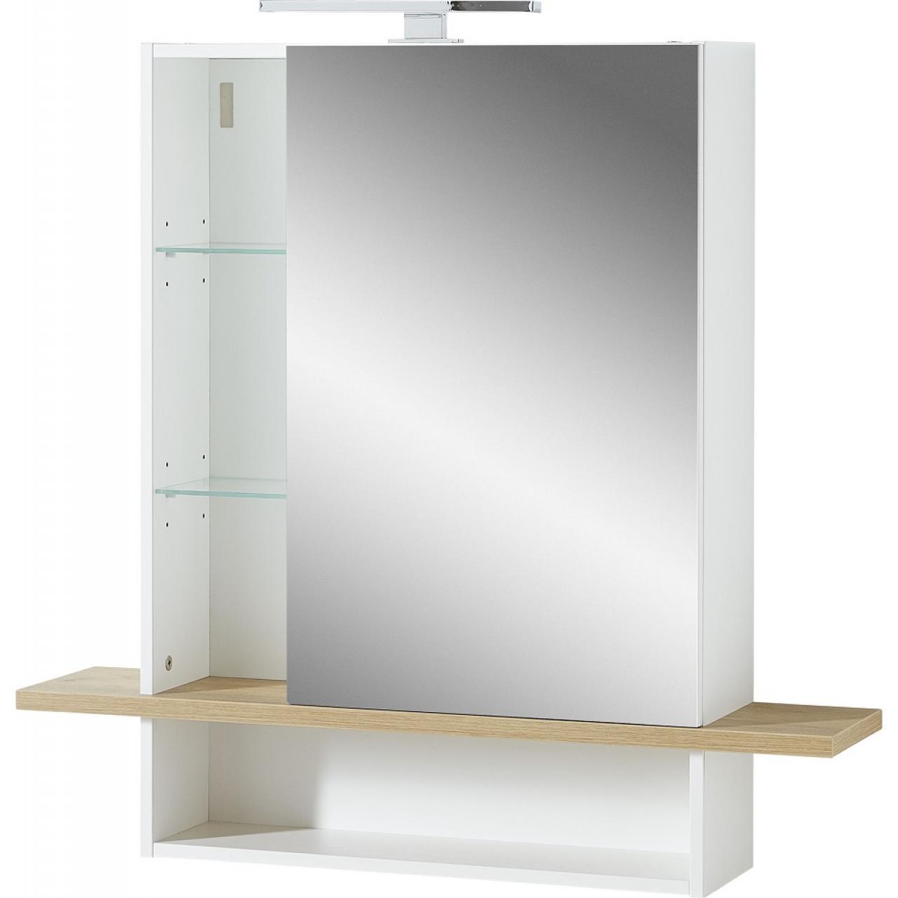 Spiegelschrank Novolino 1436 Weiß Eiche-Navarro Nb. Gäste-WC Badezimmer