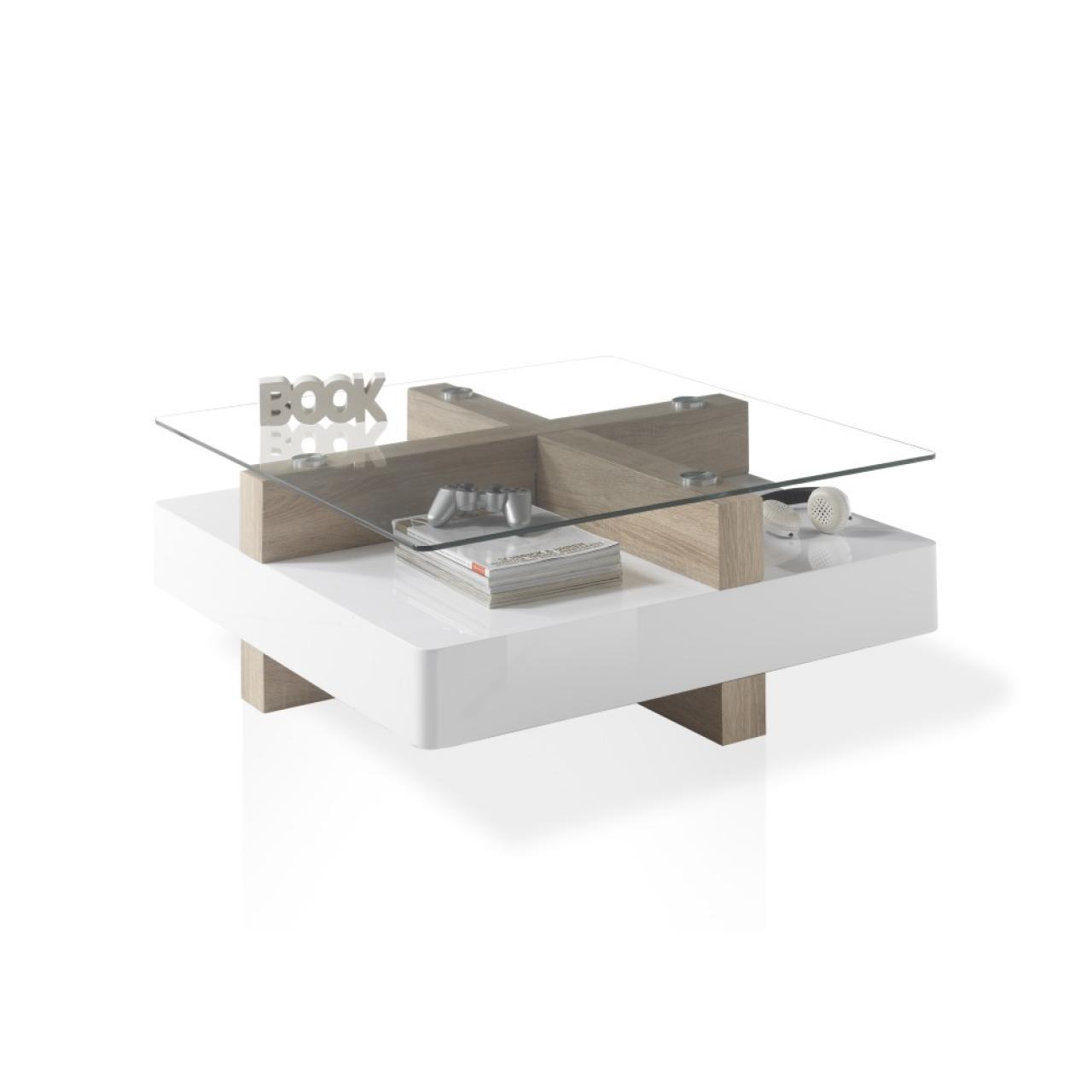 Couchtisch Theo - Eiche Sonoma / Weiß - Glas