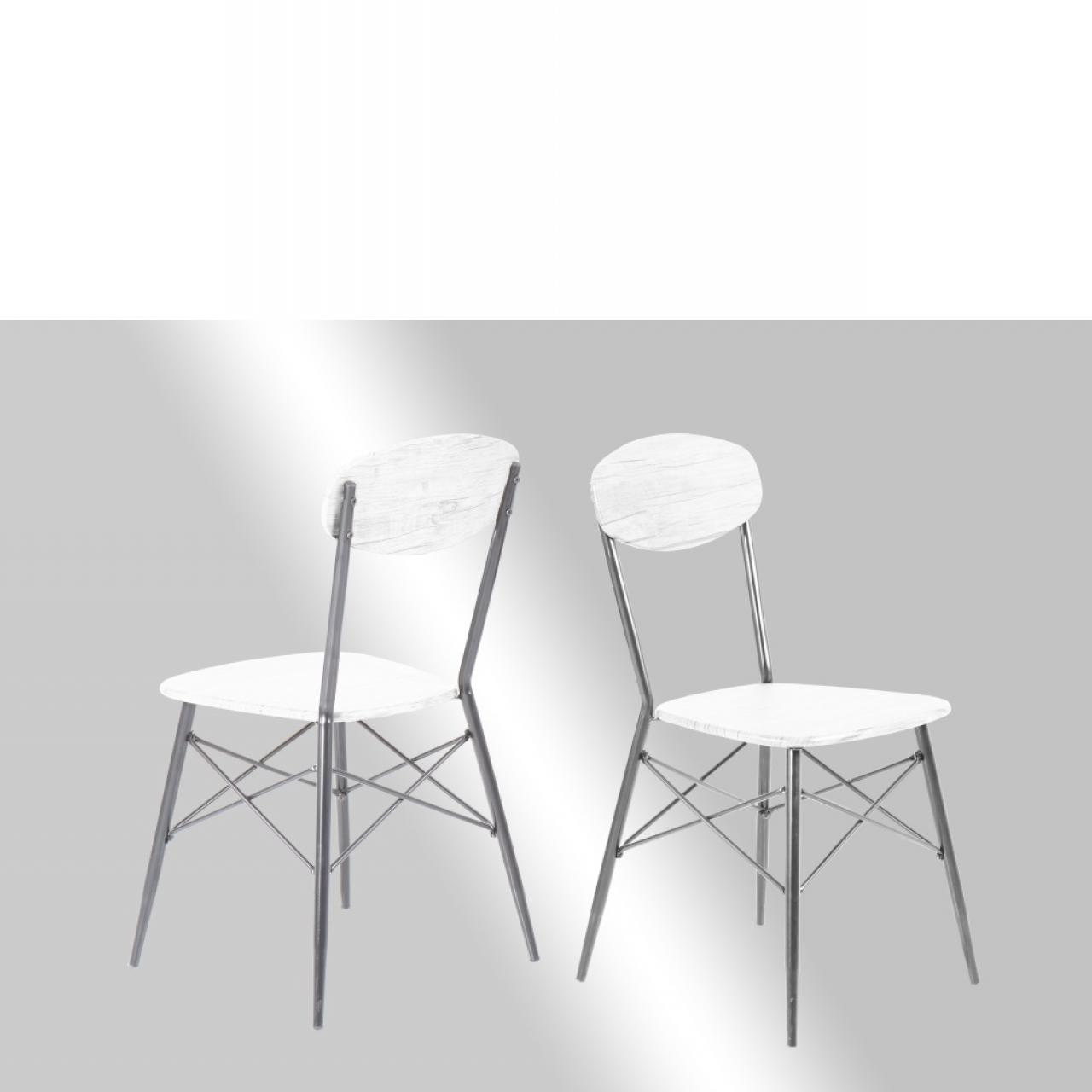 Stuhl Lara - Weiß/Silber