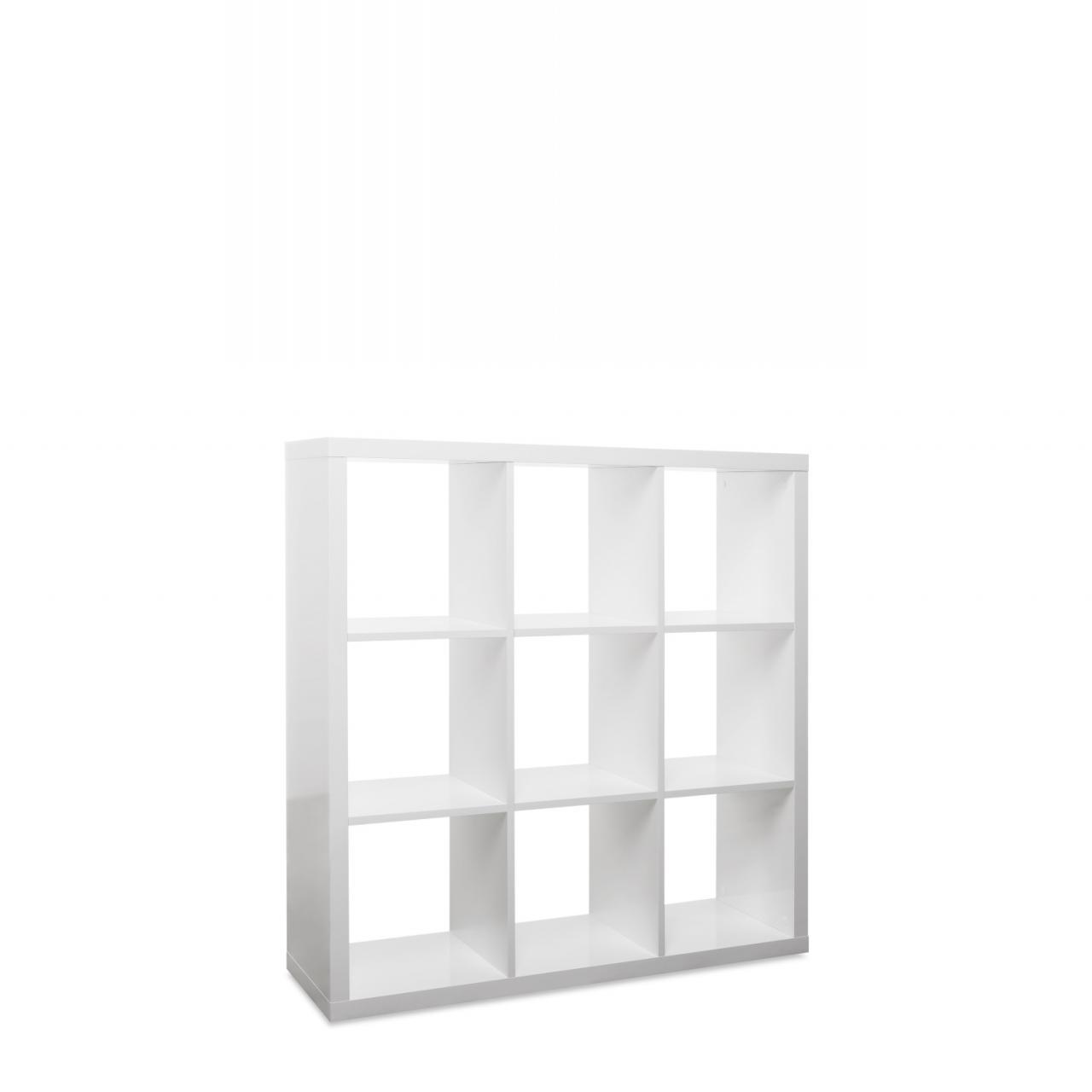 9er Regal Milano Weiß Hochglanz Standregal Aufbewahrung Bücherregal 9 Fächer