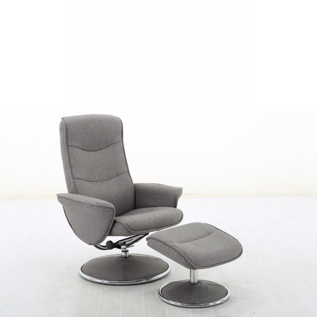 TV-Sessel Marla Metall Verchromt inkl. Hocker Salt-Pepper Relaxsessel Sessel