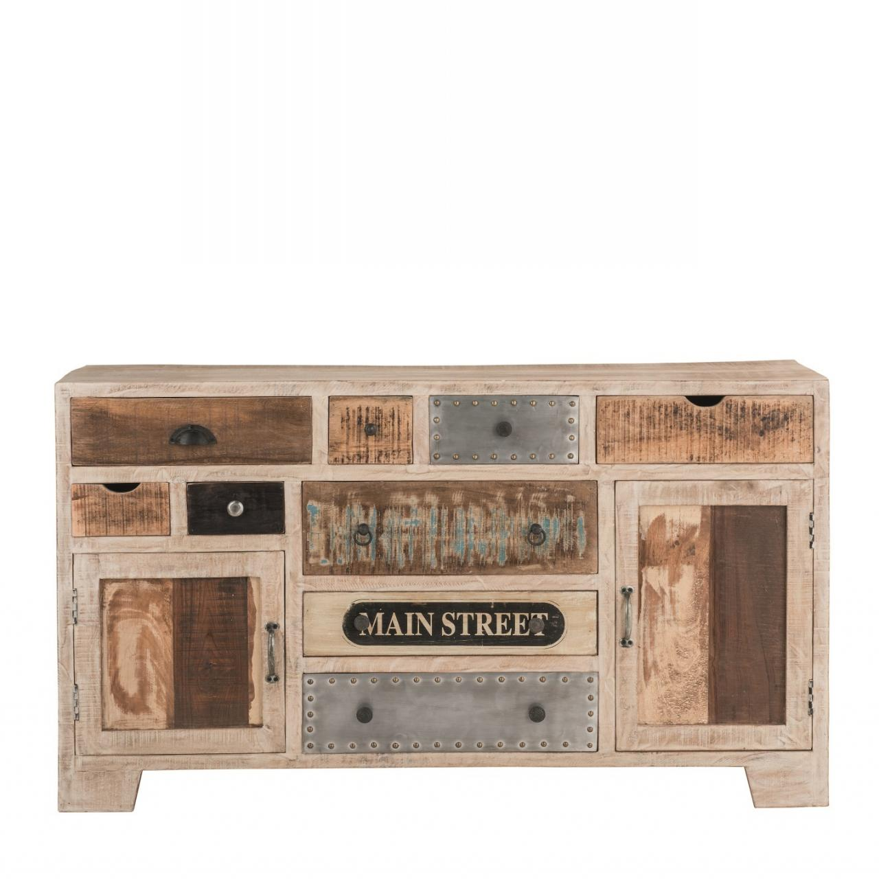 Sideboard Uma 12, Kommode, Anrichte, Schrank, Wohnzimmer, Mangoholz, 2 Türen