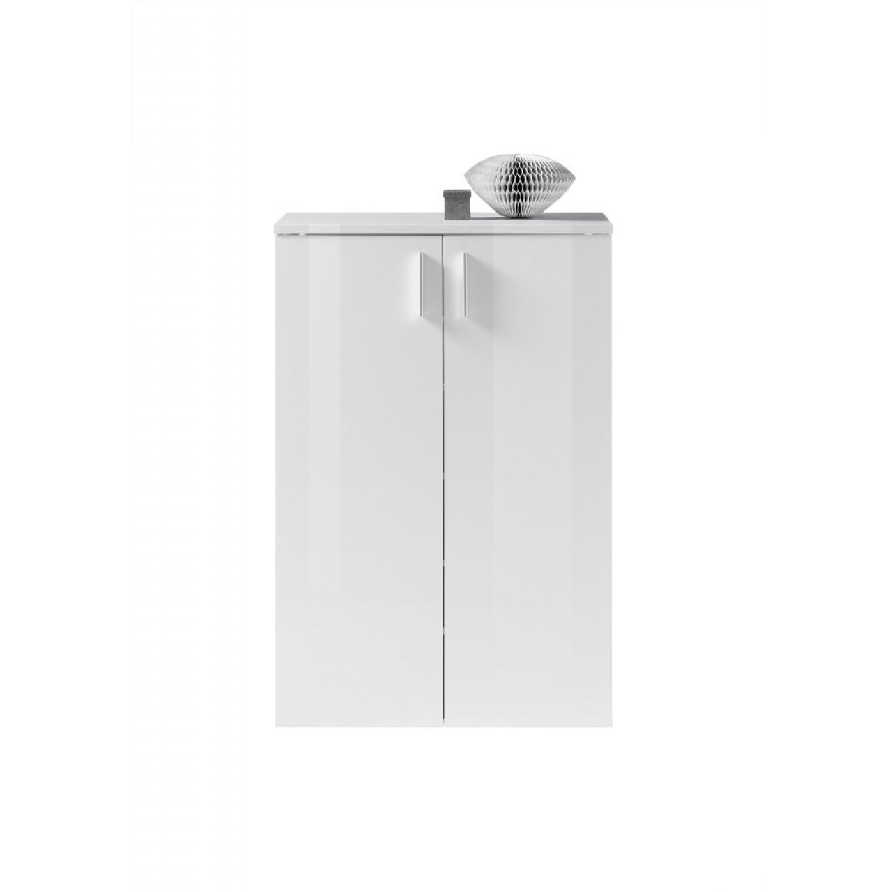 Schuhschrank Lincoln Weiß Garderobe Weiß Glanz Flur Diele Schrank 2 Türen
