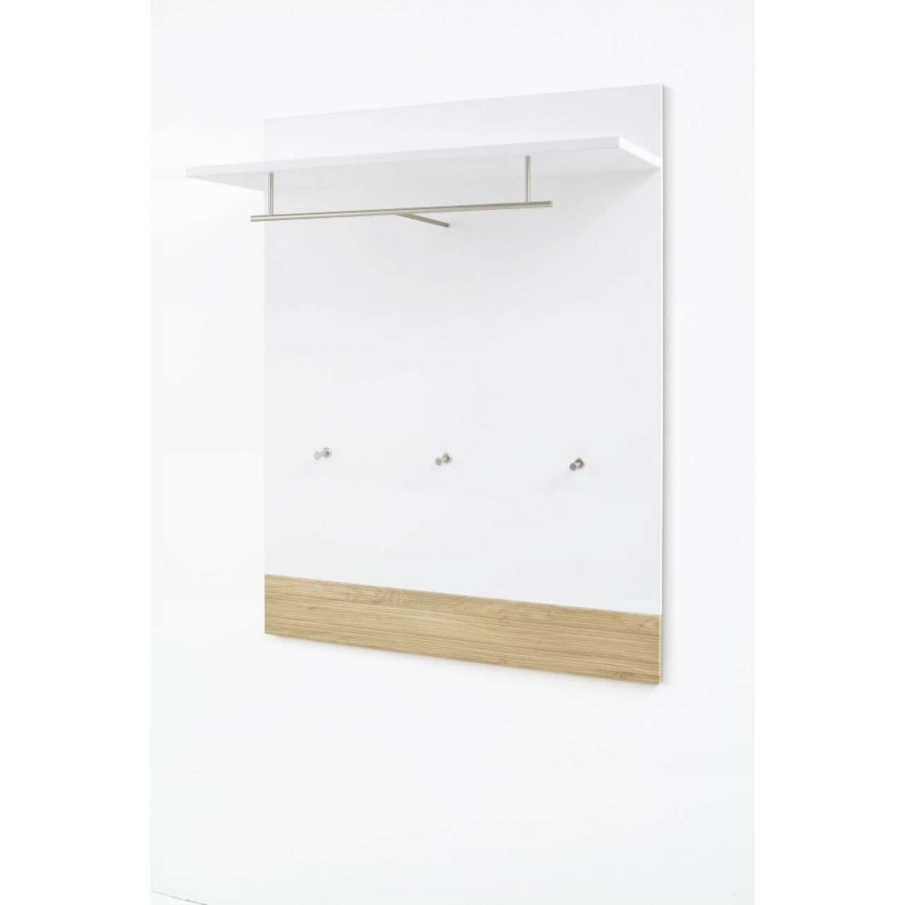 Garderobenpaneel Marlisa - Winchester Oak/Weiss Hochglanz